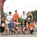 Trophy Winners. Back, left to right: David Buckner, 2nd place in the 10K; Taryn Fleet, 3rd place, 10K; Landi Wheeler, 2nd , 5k; Gloria Hover 3rd, 5K; Jacob Gouldie 1st, 5K; Standing: left to right: Tomas Moreno, 1st, 5K; Jared Graham; 3rd, 10K; Larry Dillon, 2nd, 5K;  Crystal Knight, 1st, 5K.