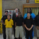 Front row, left to right: Howard Williams, Markeylon Ealy, Mary Johnson and Stephanie Ware. Back row, left to right: Tyler Police Department Assistant Chief Dianna and Judge Joel Baker and 7th Grade Texas History Teacher,  Patrina Pinkerton.