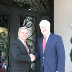 The Honorable Gregg County Judge Bill Stoudt welcomes Texas Senator John Cornyn to Longview