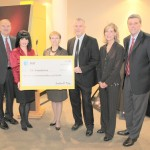 The AT&T Foundation presents a $25,000 gift to the Center for Earth & Space Science Education at Tyler Junior College, to be used for educational  programming and headline shows to the center. From left: Dr. Mike Metke, TJC president; Candice Gast, AT&T director of external affairs for Northeast Texas; Barbara Bass, mayor of Tyler; Dr. Tom Hooten, director of the science center; Dr. Kim Russell, TJC vice president for advancement and external affairs;  and Dr. Randy Reid, Tyler ISD superintendent.  Photo courtesy of Allen Arrick/Tyler Junior College