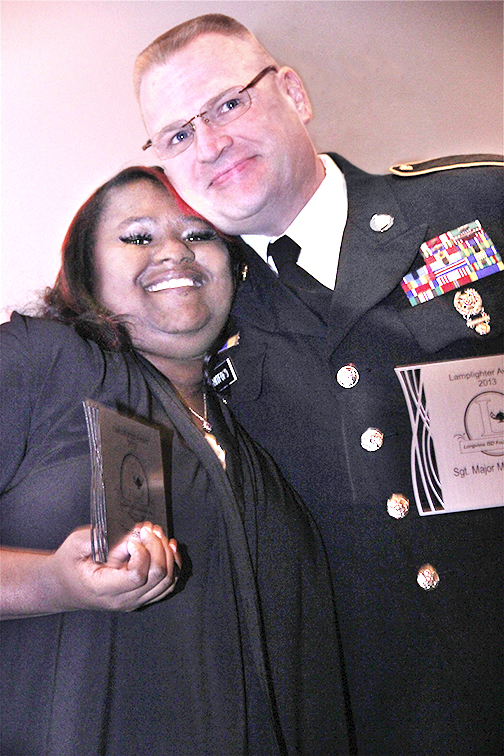 Sgt Major Mark Whitford honored by Tamesha Polk-longview high school